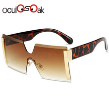 2019 Square Oversized Sunglasses Women Fashion Rimless Sun Glasses Lady Brand Designer Vintage Shades Gafas Oculos de sol UV400 yanruo 2058hf ss20 hyacinth 1440pcs glass strass flat back stones and crystals hot fix rhinestones for shoes accessories