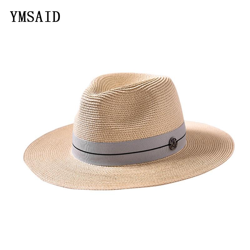 073840dd04b24 Ymsaid Summer casual sun hats for women fashion letter M jazz straw for man  beach sun
