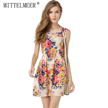 MITTELMEER New Summer Casual printing dress women vestidos de festa Sleeveless chiffon Floral dress ukraine plus size