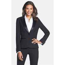 Black Women Business Suits Formal Office Suits Work Cotton Blended 2 Piece Women Trouser Suit Female Office Uniform Blazer