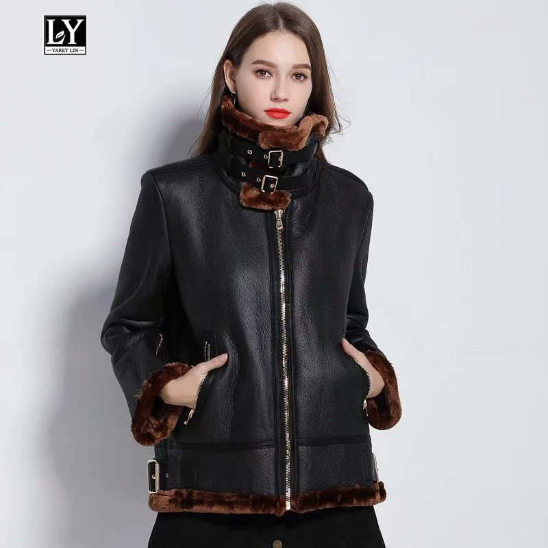 Ly Varey Lin Winter Faux Pu Leather Lambs Wool Fur Collar Jacket Coats Women Thick Warm Faux Soft Leather Punk Bomber Outerwear