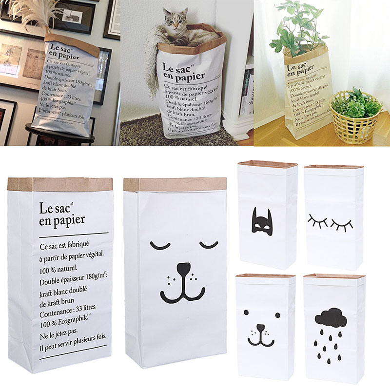 NEW Cute Heavy Kraft Paper Storage Bags Baby Toys Kraft Paper bag Laundry Bag Toys Clothes Organizer Tool Hot
