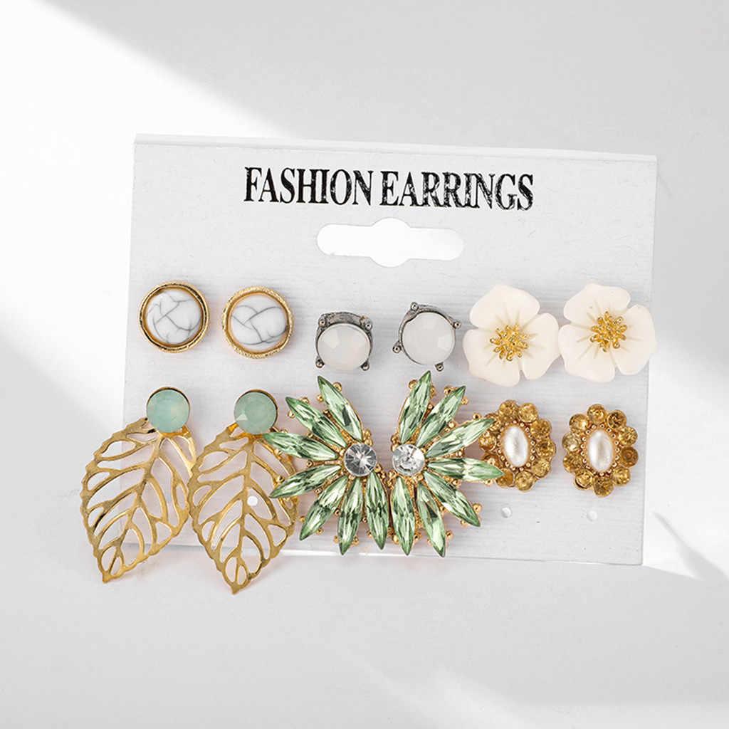 יוקרה נשים תכשיטים עגילי Creative גיאומטרי סדיר עלה פרח עגילי 6 חתיכה סט סימולציה קישוטי Brincos