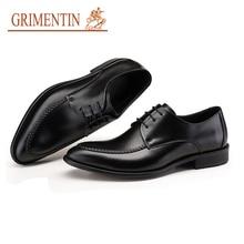 GRIMENTIN brand british wedding dress high quality leather black shoes men