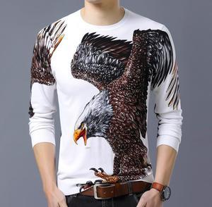Image 3 - BONJEAN ฤดูใบไม้ร่วงแฟชั่นผู้ชายเสื้อกันหนาวแขนยาวรอบคอใหญ่ Eagle พิมพ์ผ้าฝ้ายถักบางเสื้อ