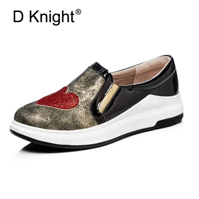 Women Causal Loafers Bling Heart Shape Decoration Flats Womens Spring Slip on Patchwork Shoes Size 34-43 Woman Sneakers Shoes