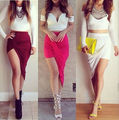 WRAP Banded Draped Cut Out Hi Low Asymmetrical High Waist Open Maxi Skirt