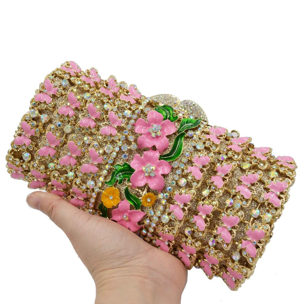 Pink butterfly Flower Clutch Bags Boutique banquet Bags Female Luxury Evening Bags Crystal Purse Wristlets SC897