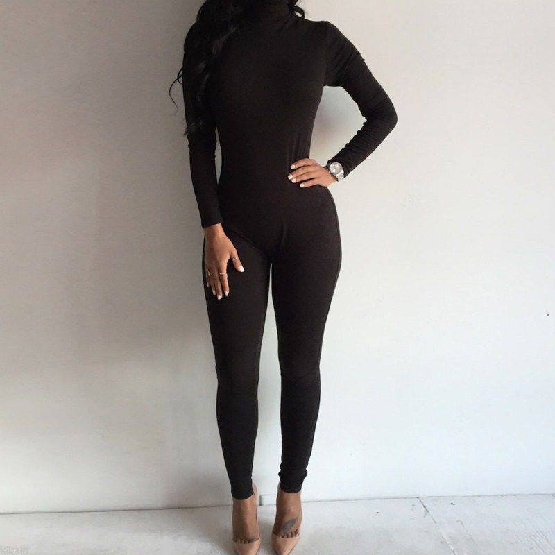 Women Fashion Turtleneck Long Sleeve Bodycon Slim Jumpsuit Bodysuit Skinny Solid Cotton Causal Jumpsuit Rompers Trouser Clothing