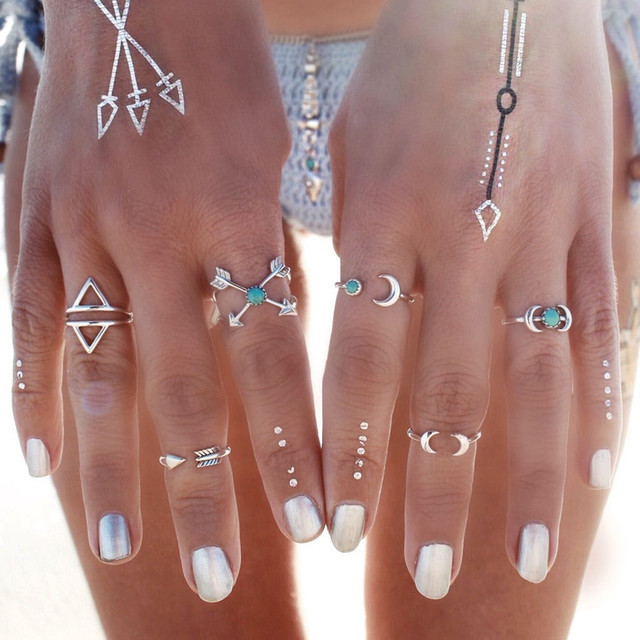 6PCS Vintage Turkish Beach Punk Moon Arrow Ring Set Ethnic Carved Silver Plated