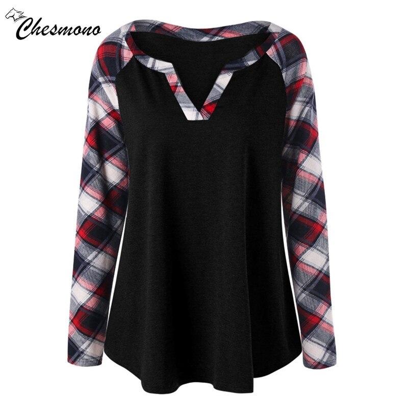 Casual Loose Long Sleeve Plaid T Shirt Women 2018 Autumn V Neck Long Tee Shirt Femme Patchwork Female T-shirt Top