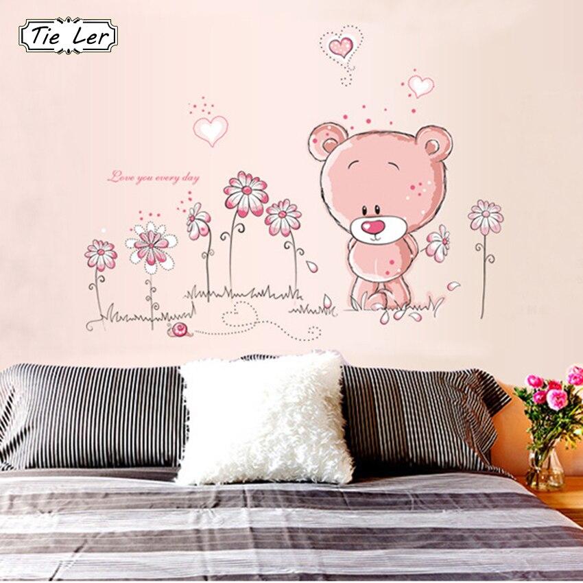 1 pcs Pink Cartoon Bear Flower Wall Sticker for Baby Girls Kids Rooms DIY Home Decor Classroom Wall Decals Wallpaper