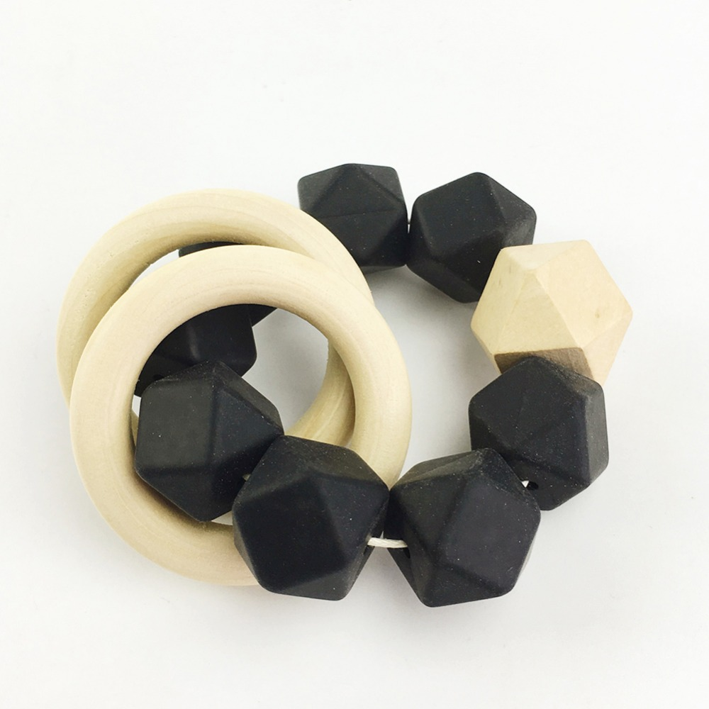Let's make Baby Wooden Teether Ring Infant Bracelet Silicone Beads Organic Toy Silicone Beads Food Grade BPA Free bath toy