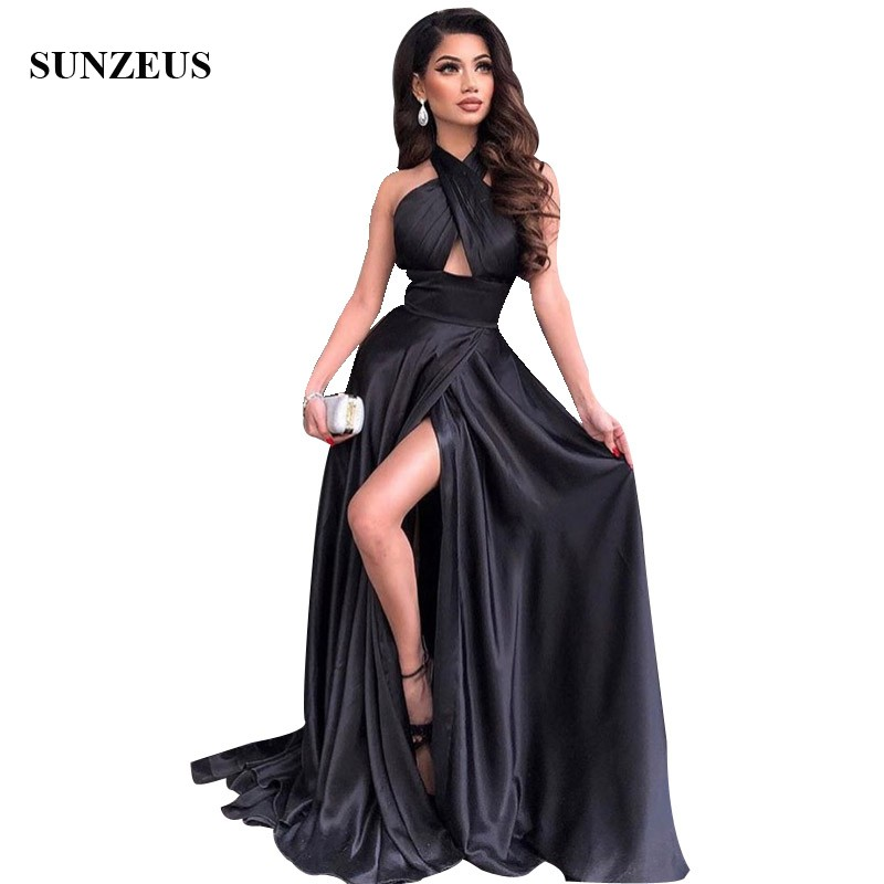 Sexy Halter Backless Leg Slit Long   Prom     Dresses   Black A-line Simple Women Party Gowns Keyhole Front