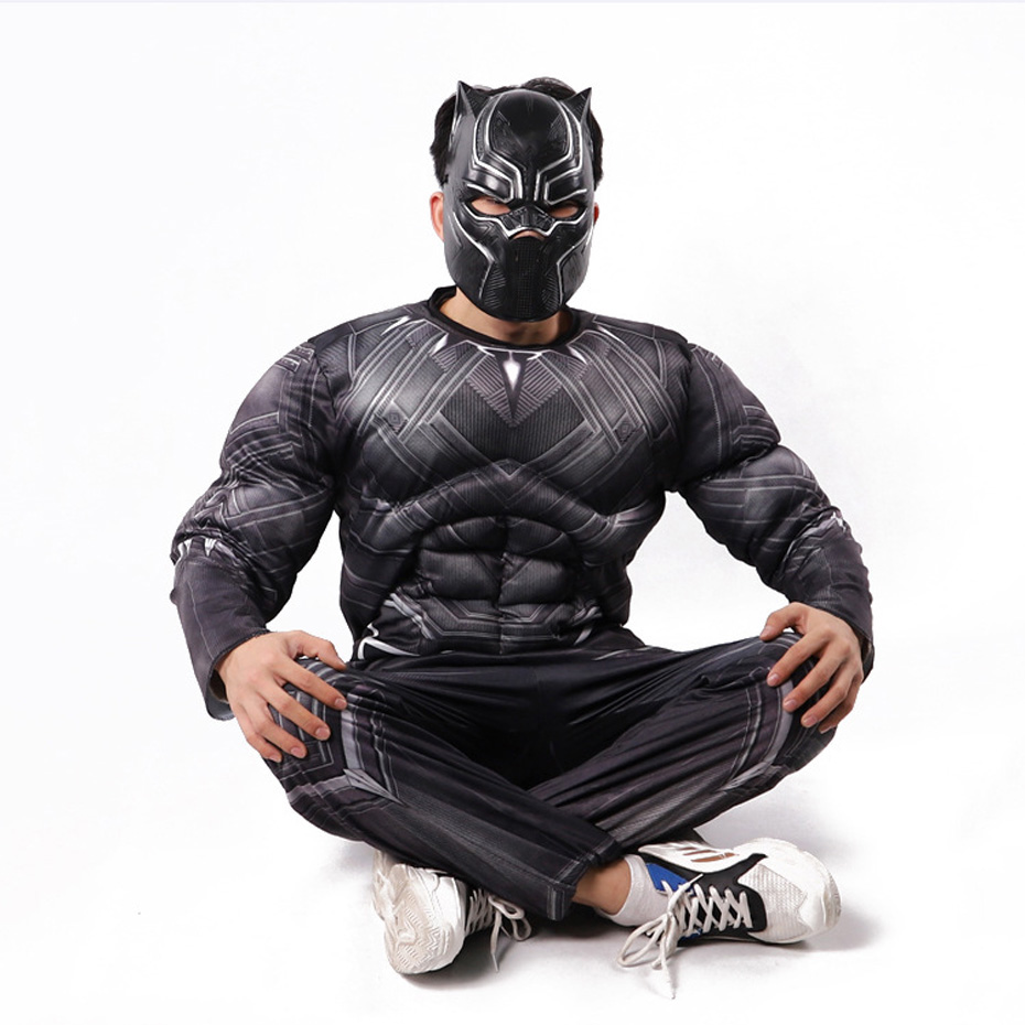 Adult 3D Print Marvel Movie Black Panther Siamese Muscle Cosplay Halloween Play Costume Dance party performing costumes