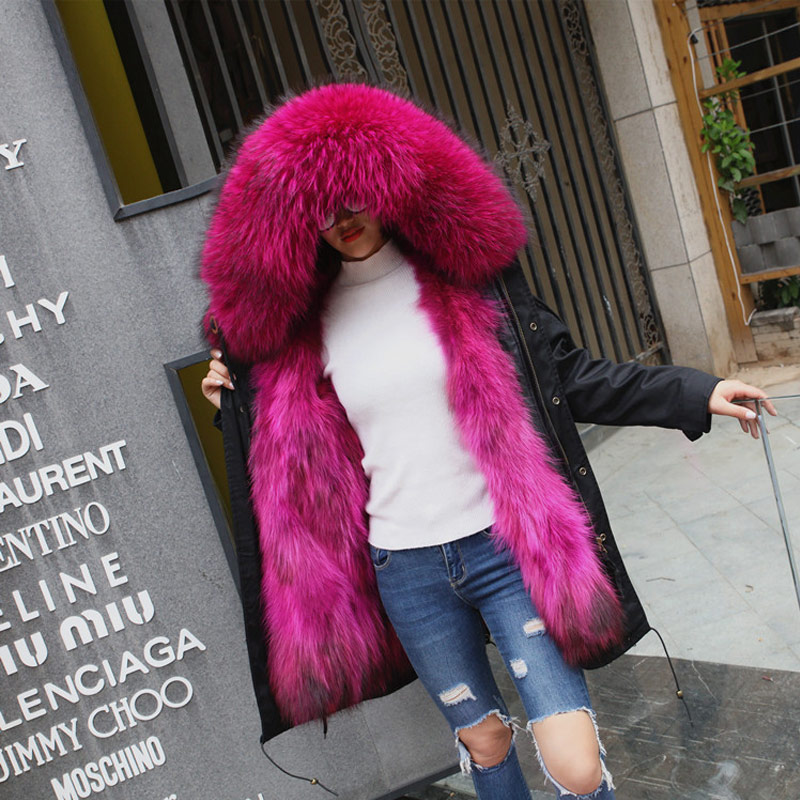 TREND-Setter 2017 Winter Fur Parka Long Coat Women Coat Real Raccoon Fur Jacket Luxury Large Detachable Collar Parka Hooded 2017 winter new clothes to overcome the coat of women in the long reed rabbit hair fur fur coat fox raccoon fur collar