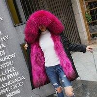 TREND-Setter 2017 Winter Fur Parka Long Coat Women Coat Real Raccoon Fur Jacket Luxury Large Detachable Collar Parka Hooded