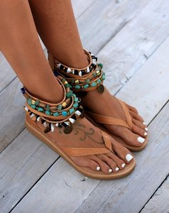 Image 4 - Ankle Wrap Cover Heel Women Gladiator Flat Sandals  Leisure Rome Summer Beach Sandals Solid Chain  Rome Shoes