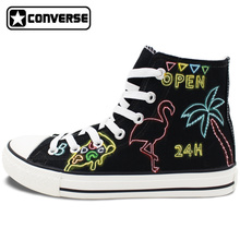 Black Hand Painted Shoes Converse All Star Design Neon Lights Kinds of Patterns Men Women's Canvas Sneakers High Top Flats