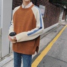 2018 Coreano dei Nuovi Uomini di Stile di Modo Splice Colore Allentato Causale Cappotti Blu/Khaki Lana Pullover casual Maglione di Cachemire formato M XL