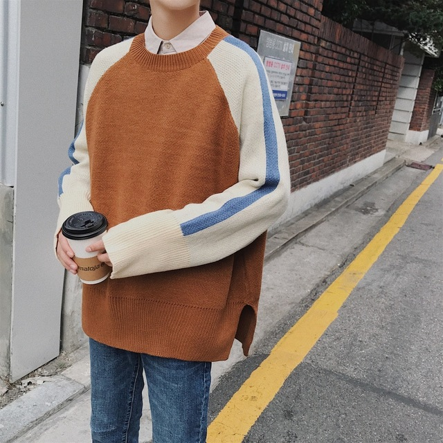 2018 Korean Style New Mens Fashion Splice Color Loose Causal Coats Blue/Khaki Woolen Pullover Casual Cashmere Sweater Size M XL