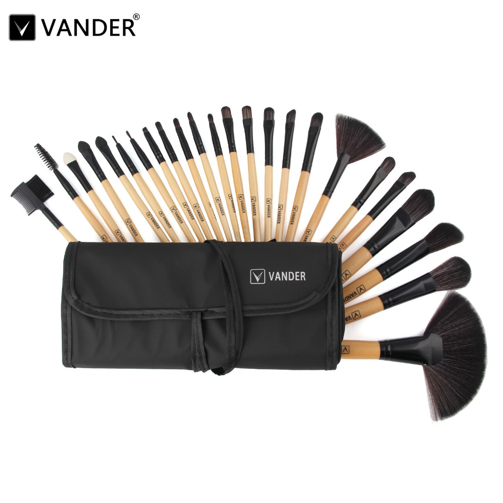 Vander 24Pcs Set Professional Makeup Brush Foundation Eye Shadows Lipsticks Powder Make Up Brushes Tools w/Bag Pincel Maquiagem vander 8pcs professional rose pink