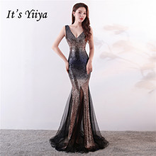 Its Yiiya evening dresses V-neck zipper back sleeveless Trumpet Prom dress Sequnied floor-length long Mermaid Party gowns C131