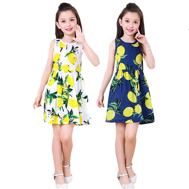 61c2a4edabf Toddler Teen Girls Dresses Summer 2019 Little Kids Fruit Print Pattern Dress  Mango Lemon Printed Clothes