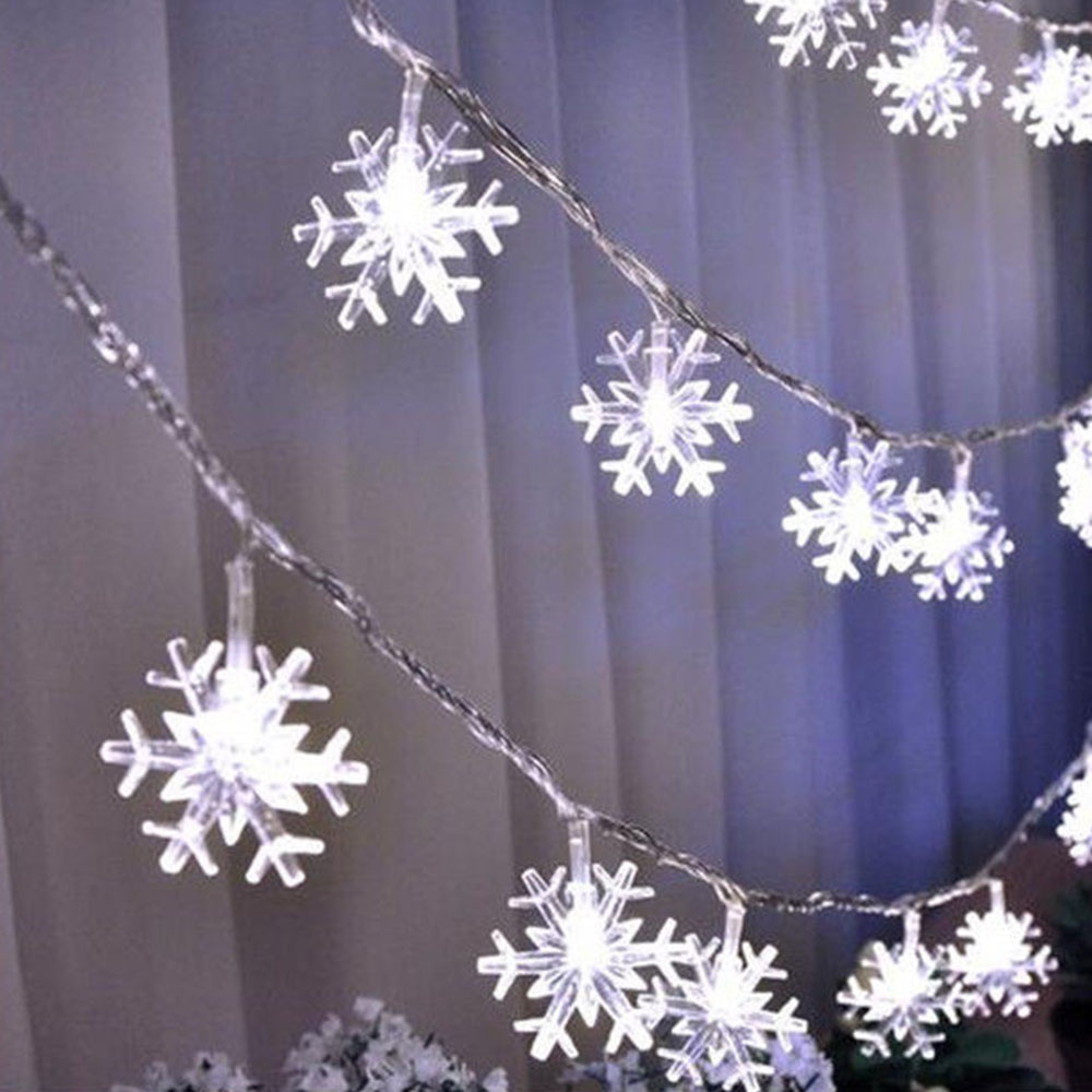 10M 100LED Snowflake String Lights 110V/220V Christmas Tree Fairy Garlands Curtain Light Outdoor For Xmas Party New Year's Decor