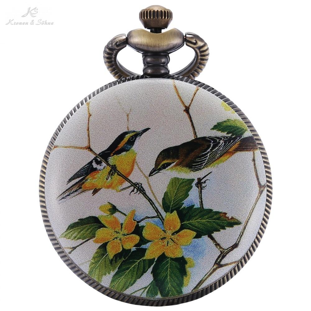 KS Retro Copper Hollow Mother Of Pearl Bird Flower Craft Hunter Quartz Pendant Chain Fobs Pocket Watches Relogio Jewelry /KSP078