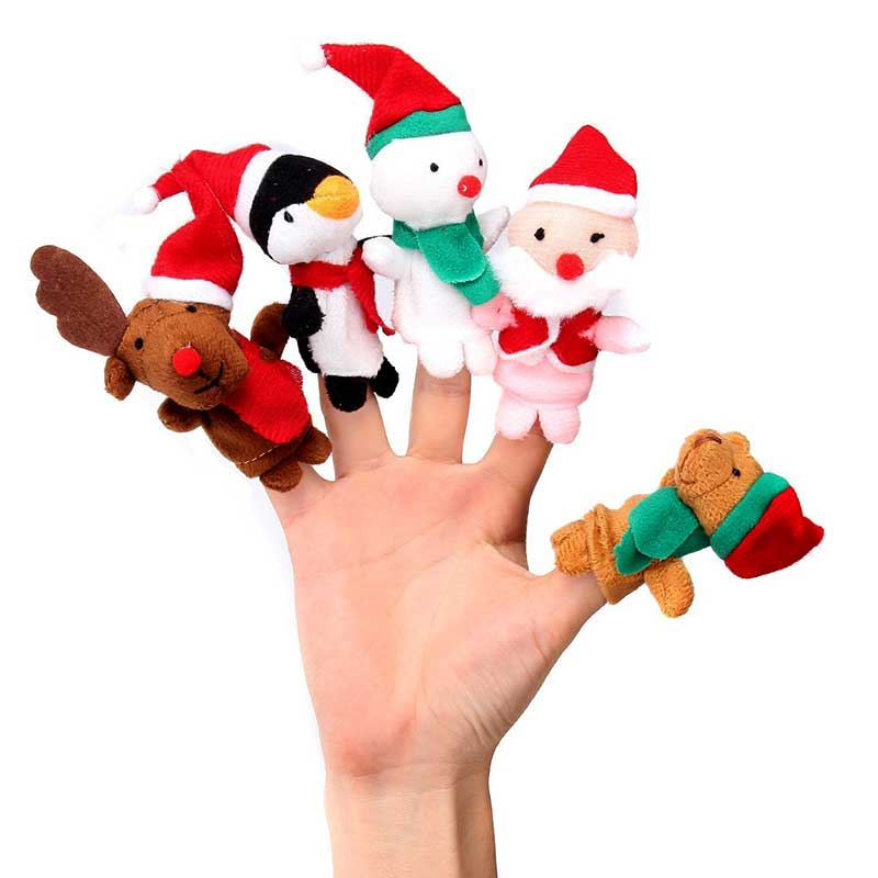 5pcs/ Set Finger Puppets Toys Christmas Santa Claus Snowman Baby Stories Helper Fingers Kids Xmas Gift 88 FJ88
