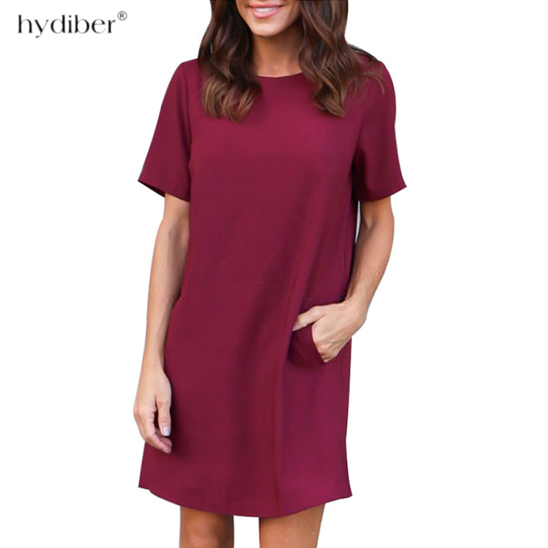 713e2646191 L 3XL Size Dresses Office Ladies Plus Size Casual Loose summer Dress  Pockets Green Red Fashion Dress Vestidos Women Clothes 2018-in Dresses from  Women s ...