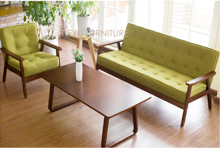 Minimalist Modern Design Solid Wooden Fabric Padded Living Room Sofa