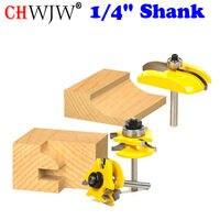 3pcs 1 4 Shank Round Rail Stile Router Bits Set Cove Raised Panel Tools Wood Cutting