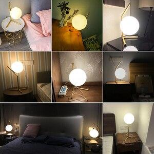 Image 5 - Yatak odası Masa Lambası Okuma Lambası Oturma Odası Dekorasyon masa lambası İskandinav tarzı Demir Kaplama Süt Beyaz Cam Abajur E27