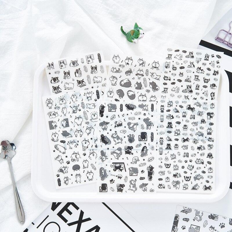6pcs Black White Dog Pvc Transparent Sticker Organizer Calendar Diary Book Planner Sticker Scrapbook Decoration  Papeleria Sale