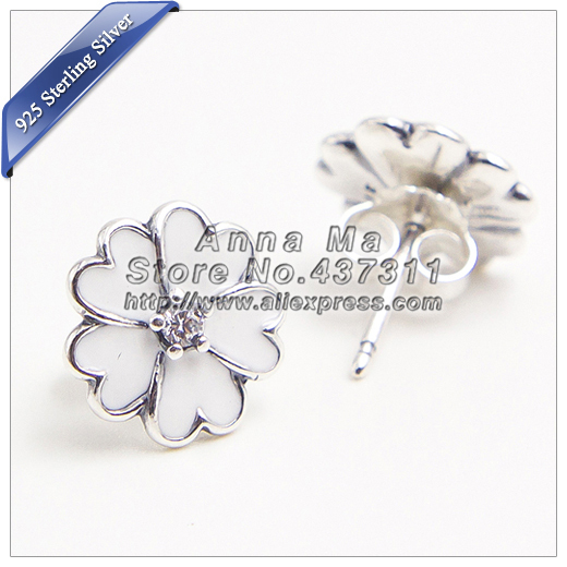2015 NEW Authentic 100% S925 Sterling Silver Primrose Earrings White Enamel with Clear CZ Earring Stud fashion Earrings