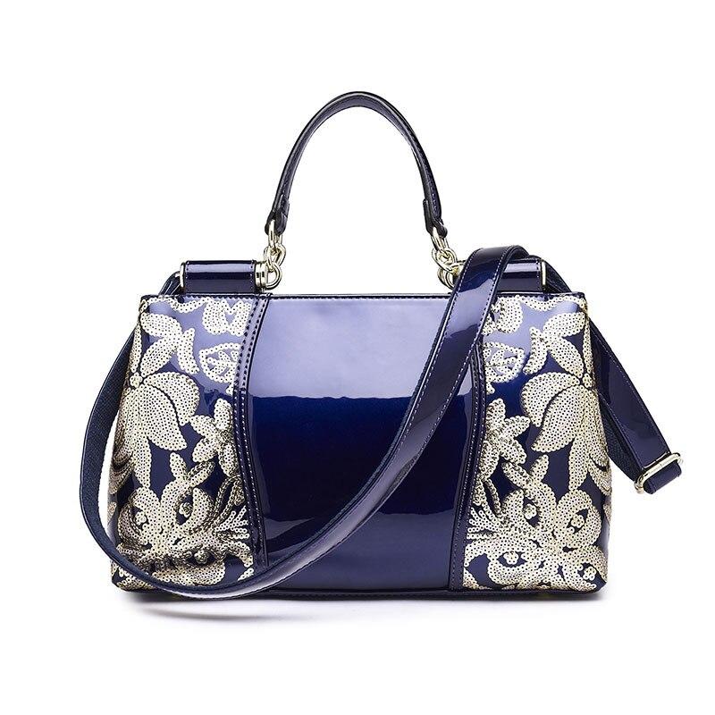 New Vintage Luxury Handbag Designer Handbags High Quality Flower Fashion Women Leather Handbags Organizer Ladies Sequins Totes