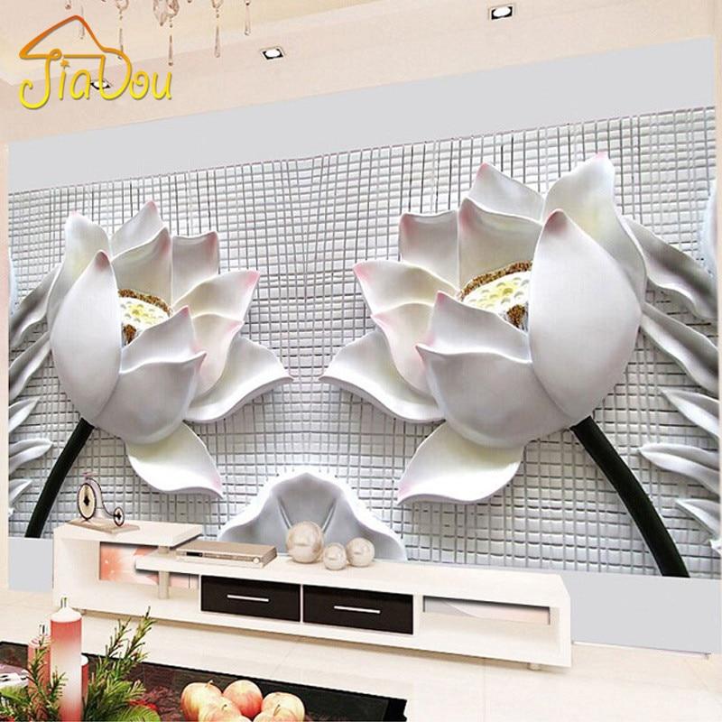 Custom Any Size 3D Wall Murals Wallpaper Modern 3D Stereo Relief Lotus  Flower Wallpaper Living Room