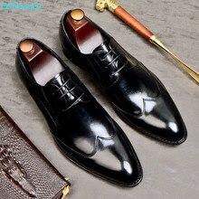 QYFCIOUFU Luxury Designer Brand Genuine Leather Business Men Dress Shoes Retro Fashion Wedding Oxford For Size US 11.5