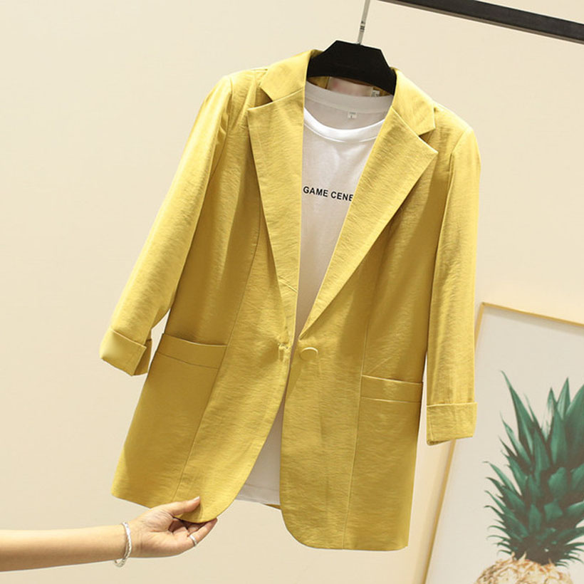 Summer Office Ladies 7 point sleeve linen women blazers and jackets small suit casual slim cotton white/pink/yellow/black Female