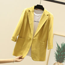 Summer Office Ladies 7-point sleeve linen women blazers and jackets small suit casual slim cotton white/pink/yellow/black Female(China)