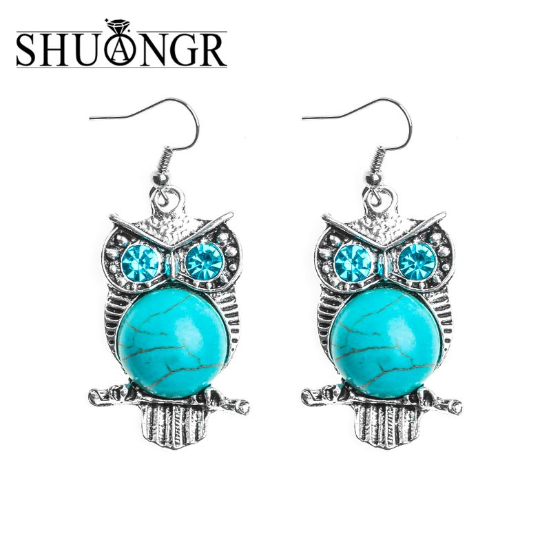 SHUANGR 1pair Jewelry Ethnic Vintage Tibetan Silver Natural Stone Brilliant Owl Womens Dangle Earrings