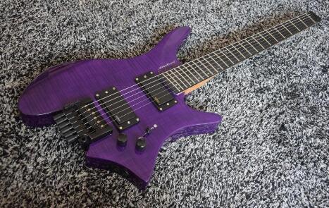 Alta calidad FDHL-008 transparente color púrpura Tigre funda de rayas palo de rosa diapasón guitarra eléctrica sin cabeza, envío gratis