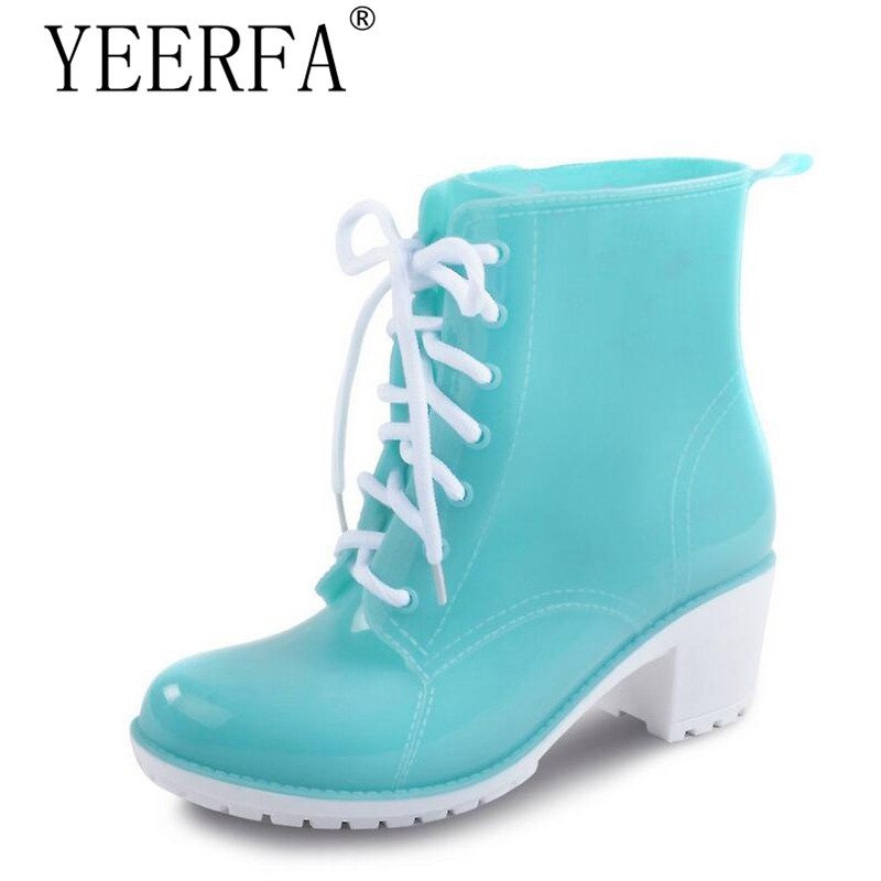 YIERFA 2018 NEW Rain Boots Women Ankle Boots Platform High Heels Rubber Shoes Woman Lace Up Rain boots Candy Color Size 36-41 spring women rainboots 2016 new plain flat ankle boot waterproof rubber rain boots lace up shoes woman size plus 36 41 xwx3792