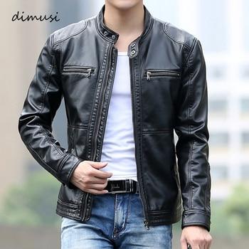 DIMUSI hommes en cuir veste Slim court en cuir vestes col montant décontracté mâle moto en cuir veste coupe-vent manteaux, YA700