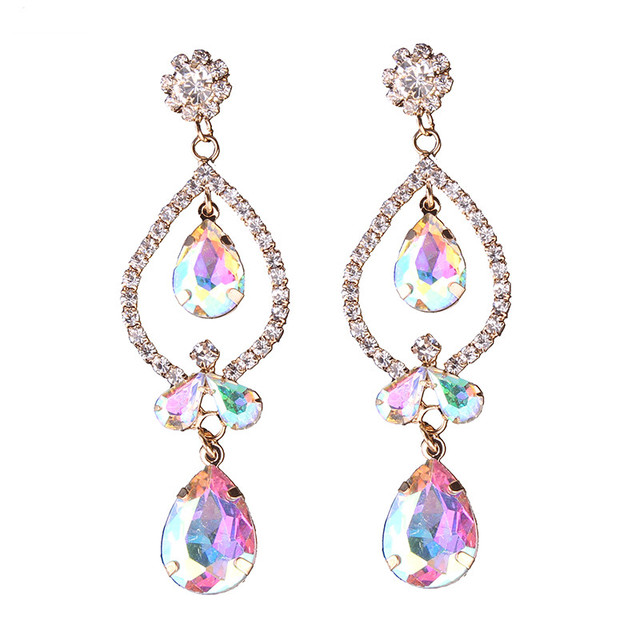 Hot Drop Earrings AB Color Acrylic Beads Cheap Wedding Engagement Fashion Statement Dangle Earrings For Women 5516