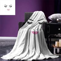 Eyelash Throw Blanket Closed Eyes Pink Lipstick Glamor Makeup Cosmetics Beauty Feminine Design Warm Microfiber Blanket