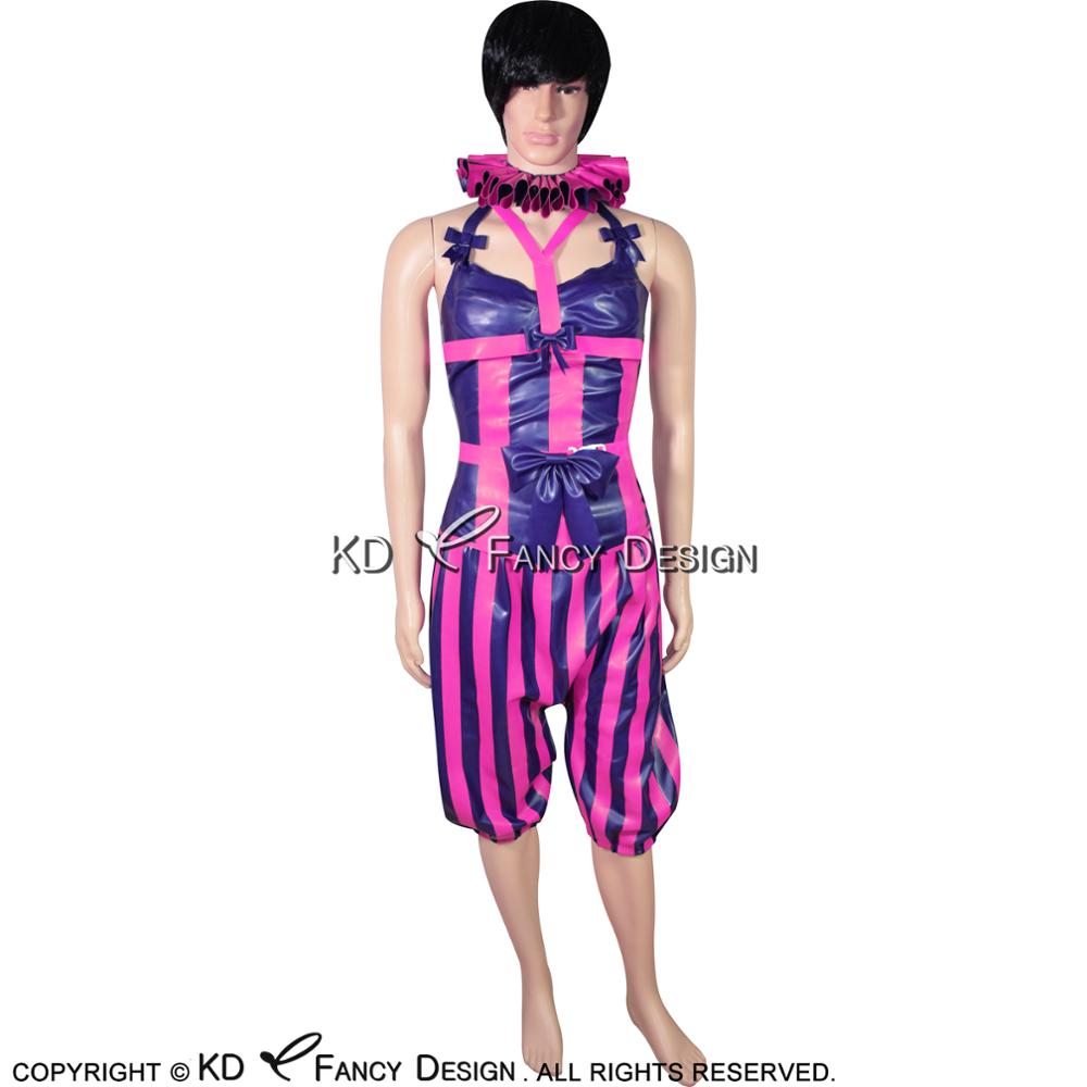Purple With Rose Red Sexy Clown Latex Uniform With Bra Corset Pants Belts Rubber Bodycon Playsuit YF-0092