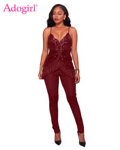 27b6bf2733d (Ship from US) Adogirl 2017 New Sequins Tassel Accent Spaghetti Straps Jumpsuits  Sexy Deep V Neck Bandage Jumpsuit Women Rompers Club Wear